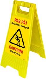 Gulvskilt - Glat gulv - Pas på! Gulvet kan være glat - Caution! Slippery floor