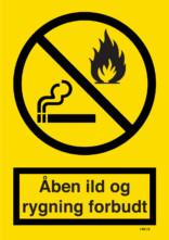 Advarselsskilt - Rygning og åben ild forbudt