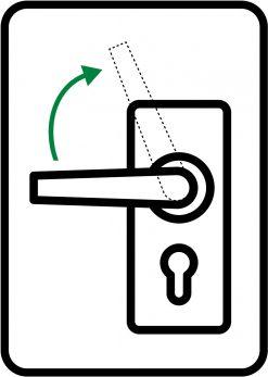 Lås - håndtag op skilt