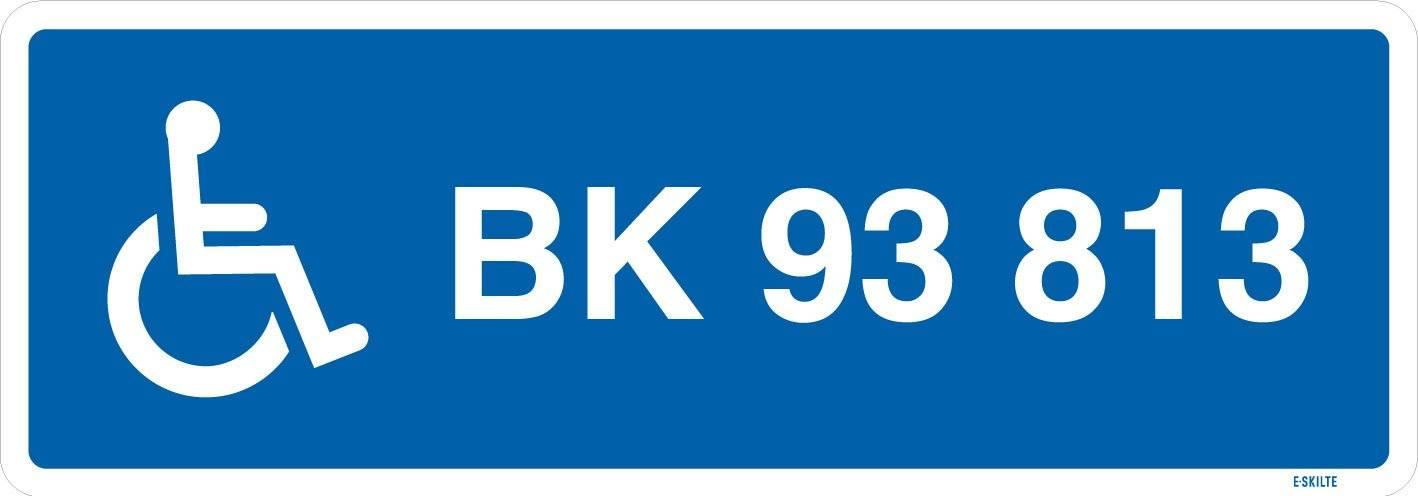 Parkeringsskilt - Handicapskilt med nummerplade / registeringsnummer