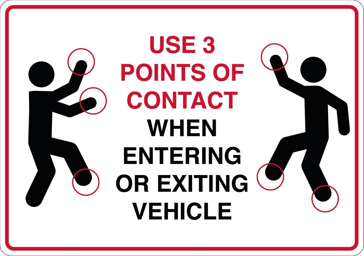 Use 3 points of contact when entering or exiting vehicle - Brug kontaktpunkter skilt