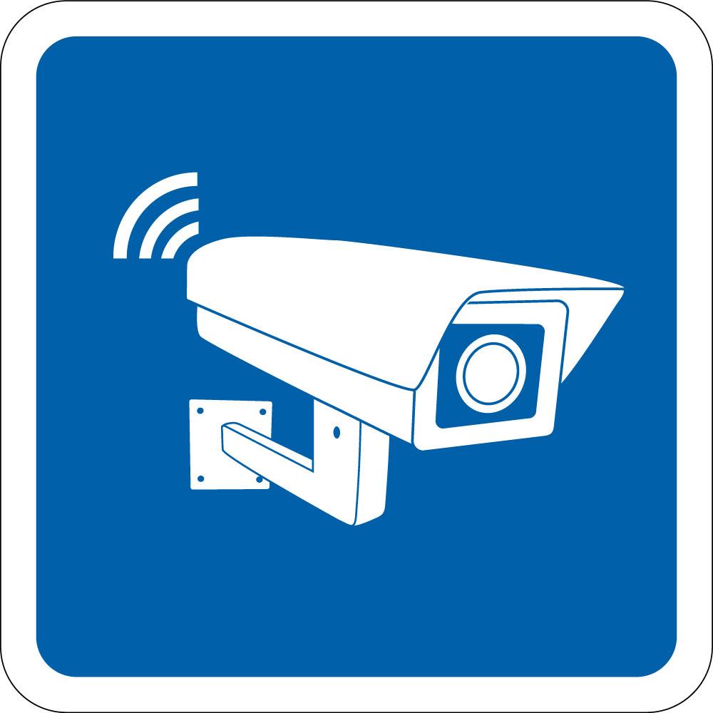 Video overvågning - blå skilt