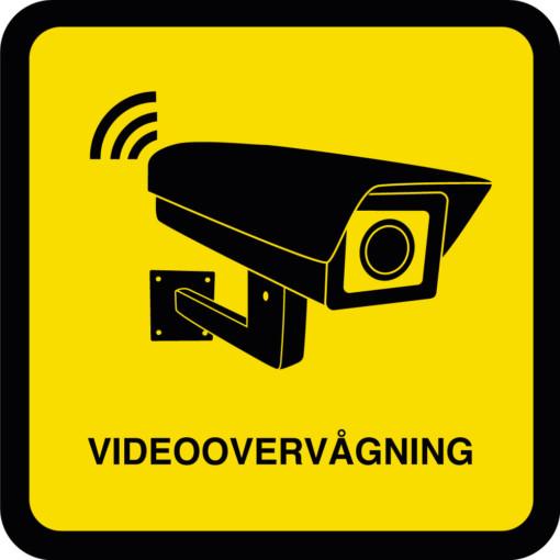 Videoovervågning piktogram Sort gul skilt