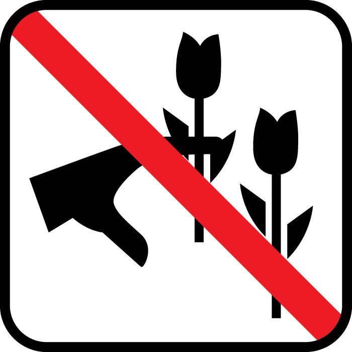 Ingen blomsterplukning skilt