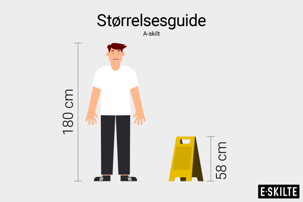 A-skilte størrelsesguide