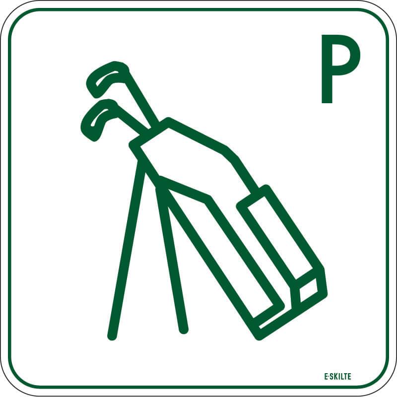 Golfbag parkering golf skilt