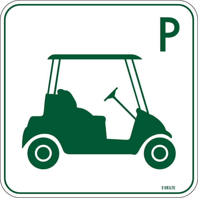 Golfbil parkering skilt