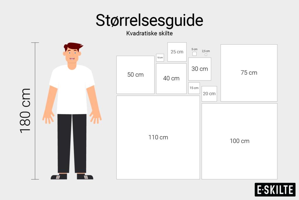 Kvadratiske skilte størrelsesguide