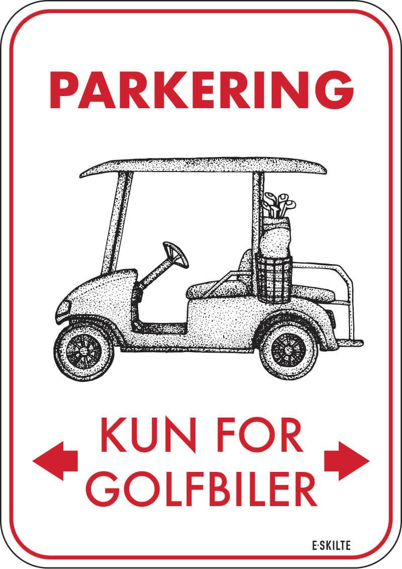 Parkering kun for golfbiler retro golf skilt