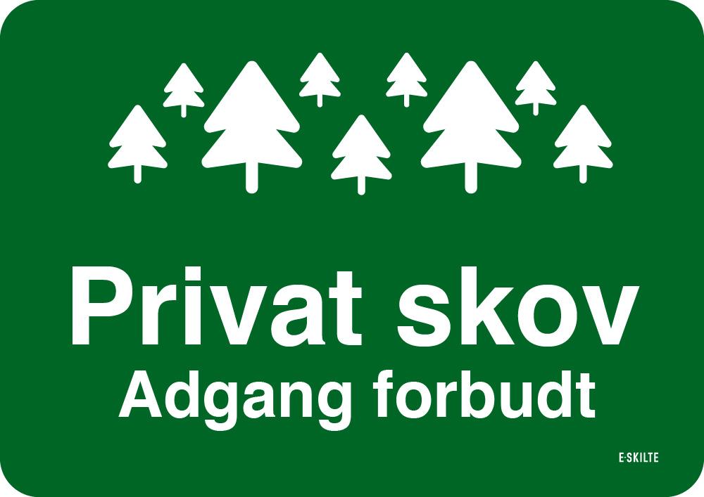 Privat skov skilt