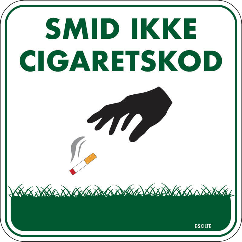 Smid ikke cigaretskod golf skilt
