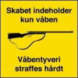 Skabet indeholder kun våben skilt
