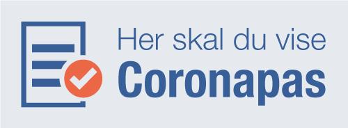 Her skal du vise coronapas skilt