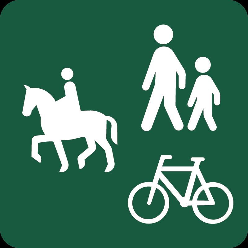 Ride-, gang-, og cykelsti Naturstyrelsens skilt