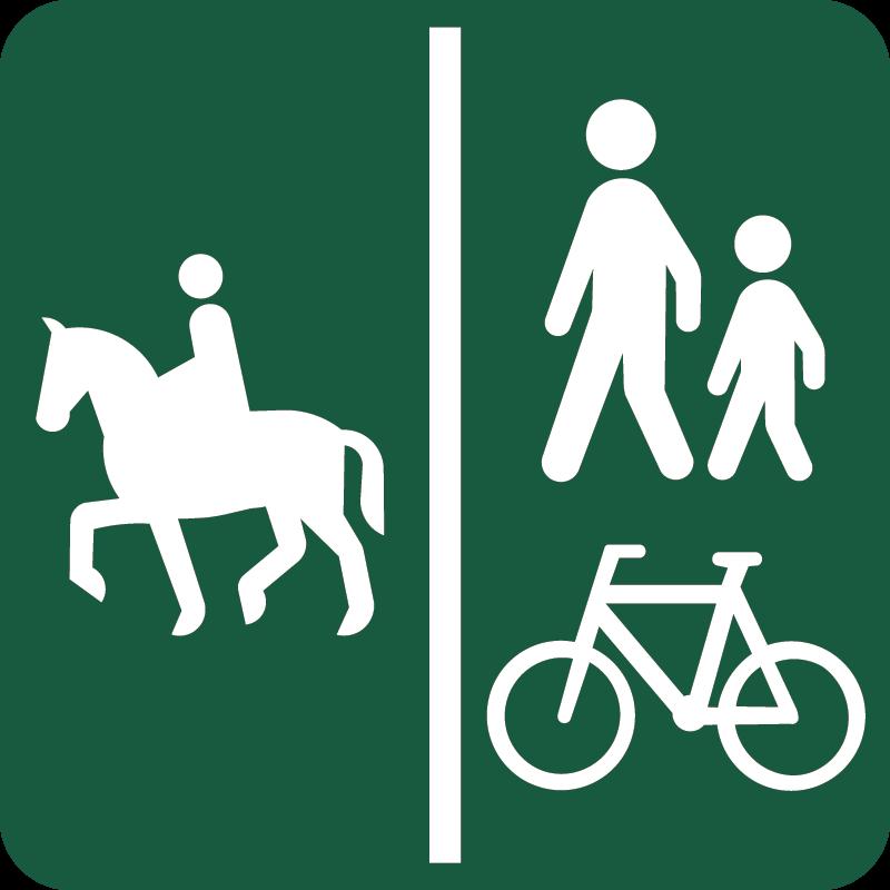 Ridesti og Gang- og cykelsti Naturstyrelsens skilt