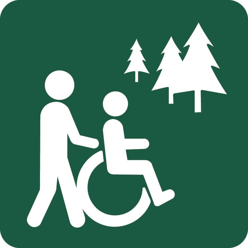 Kørestolsegnet rute Naturstyrelsens skilt