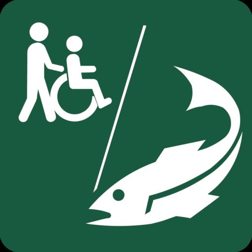 Handicapegnet lystfiskeplads Naturstyrelsens skilt