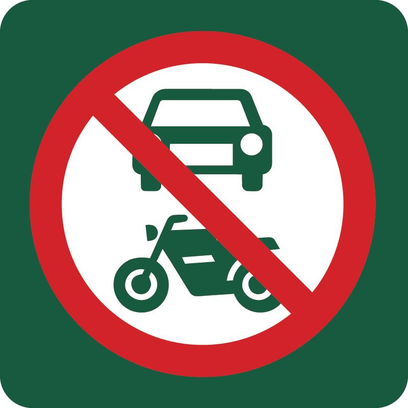 Motorkørsel forbudt Naturstyrelsens skilt