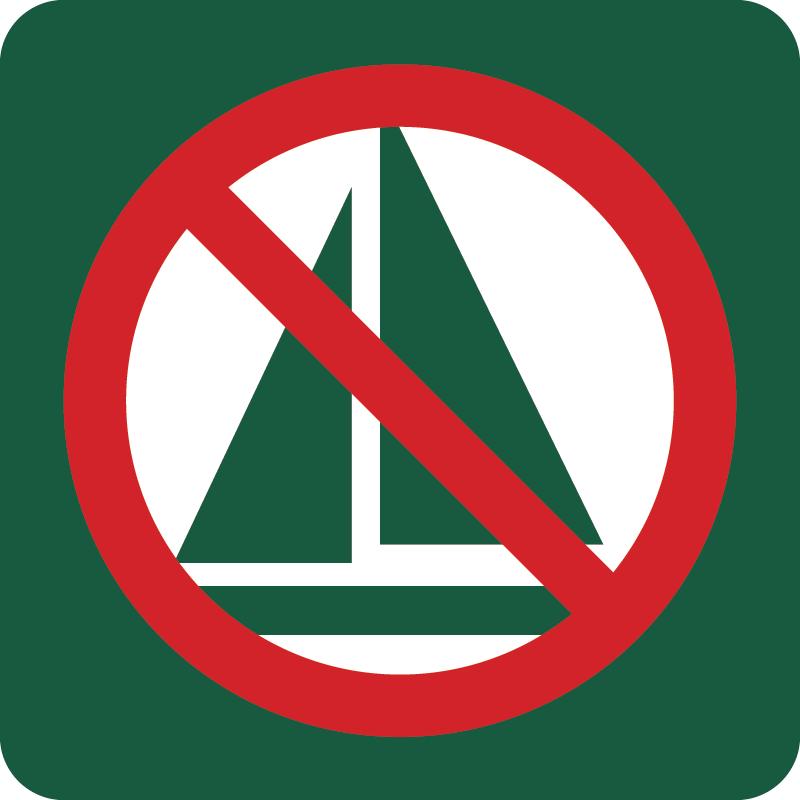 Sejlads forbudt Naturstyrelsens skilt
