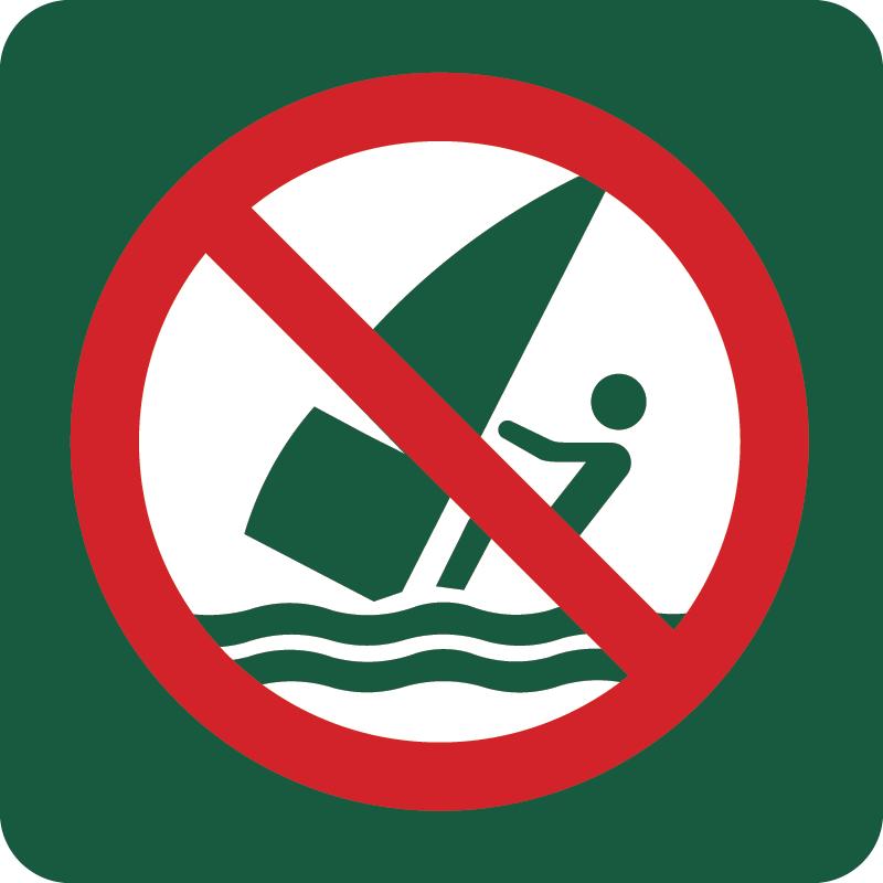Windsurfing forbudt Naturstyrelsens skilt