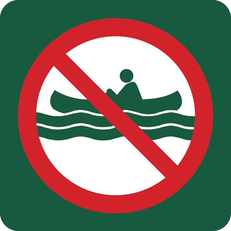 Roning forbudt Naturstyrelsens skilt