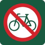 Cykling forbudt Naturstyrelsens skilt