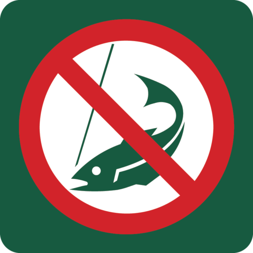 Fiskeri forbudt Naturstyrelsens skilt