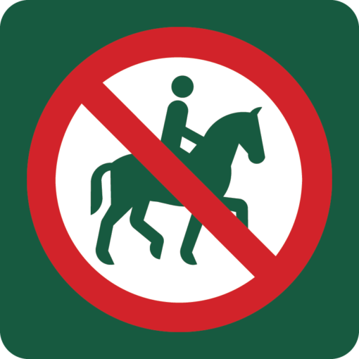 Ridning forbudt Naturstyrelsens skilt