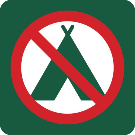 Campering forbudt Naturstyrelsens skilt