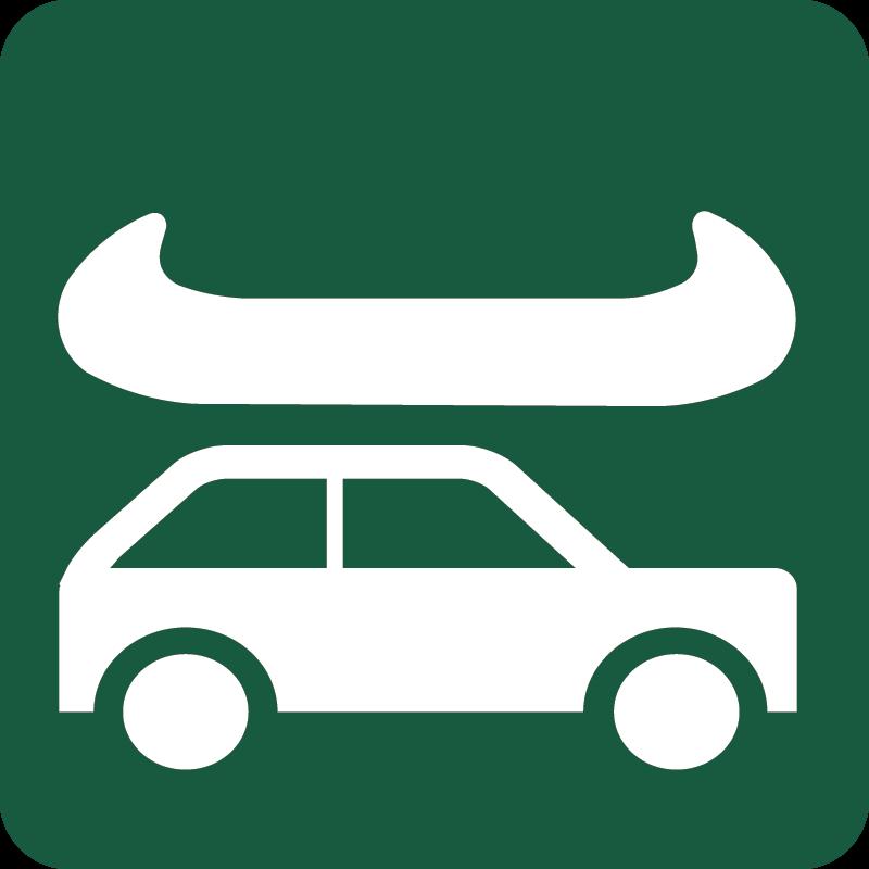 Kano- og kajakisætningssted fra bil til vand Naturstyrelsens skilt