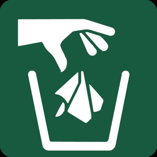 Affaldsbeholder Naturstyrelsens skilt