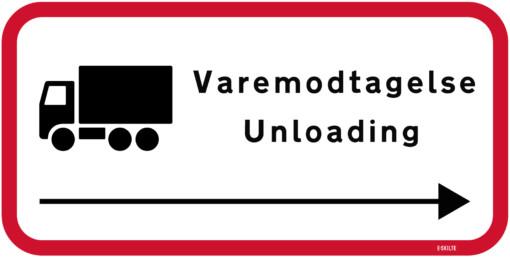 Varemodtagelse Unloading skilt